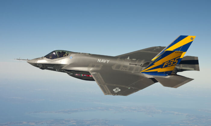 In this image released by the U.S. Navy courtesy of Lockheed Martin, the U.S. Navy variant of the F-35 Joint Strike Fighter, the F-35C, conducts a test flight February 11, 2011 over the Chesapeake Bay. Lt. Cmdr.  (U.S. Navy photo courtesy Lockheed Martin via Getty Images)