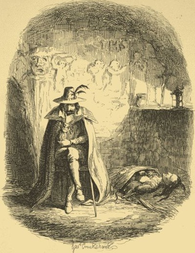 Guy Fawkes by Cruikshank. (William Harrison Ainsworth, Guy Fawkes, or The Gunpowder Treason. 1840.)