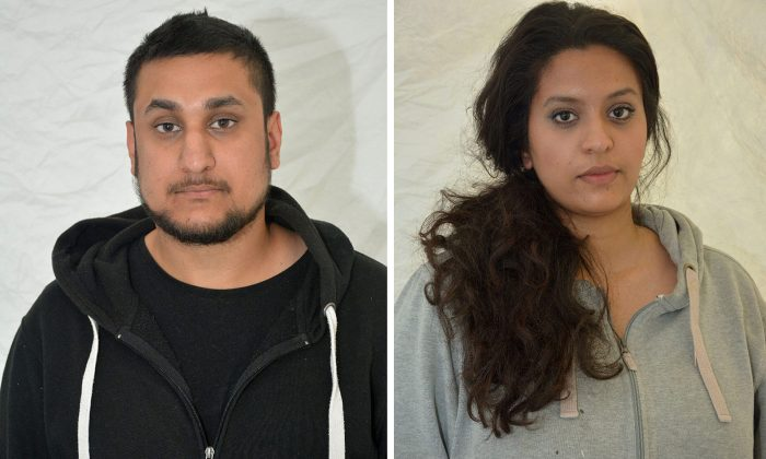 Mohammed Rehman (L) and his wife Sana Ahmed Khan, interested in helping Islamic State extremists, have been convicted of planning a large-scale bombing of civilian targets in London to mark the 10th anniversary of the July 7, 2005 attacks on the city's transit system. Rehman, 25, and his wife Ahmed Khan, 24, were found guilty Tuesday, Dec. 29, 2015, at the Old Bailey court. (Thames Valley Police via AP)