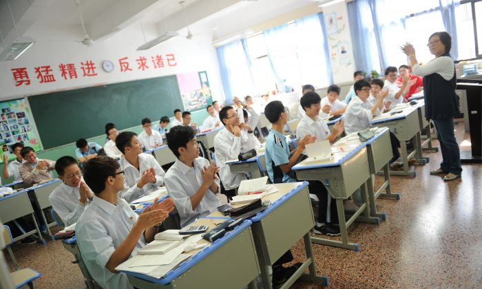 A class at the statet-run Shanghai Number Eight High School in Shanghai on Oct. 15, 2012. (Peter Parks/AFP/Getty Images)