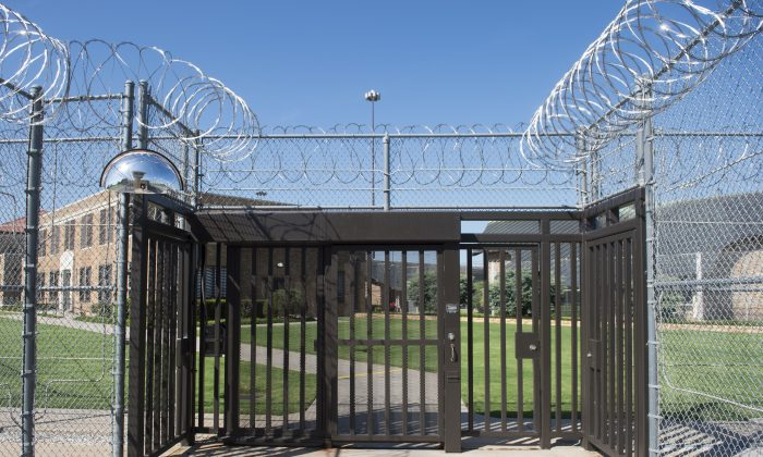 The gate of El Reno Federal Correctional Institution in El Reno, Okla., on July 16, 2015. (Saul Loeb/AFP/Getty Images)