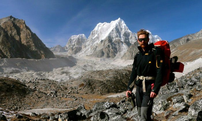 The author, Nolan Peterson, on the hike to the Nangpa La pass. (Nolan Peterson/The Daily Signal)
