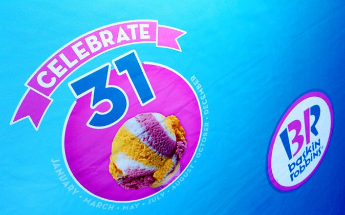 A sign for Baskin-Robbins' 70th birthday celebration in Burbank, Calif., on Dec. 8, 2015. (Rachel Murray/Getty Images for Baskin-Robbins)