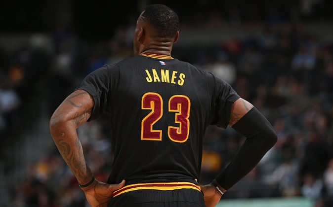 Detail of the jersey of LeBron James #23 of the Cleveland Cavaliers as he takes the court against the Denver Nuggets at Pepsi Center in Denver, Colo., on Dec. 29, 2015. (Doug Pensinger/Getty Images)