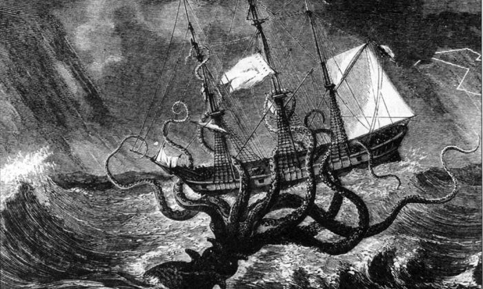 Imaginary view of a gigantic octopus seizing a ship. (Mary Evans Picture Library/Alamy)