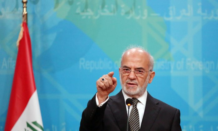 Iraqi Foreign Minister Ibrahim al-Jaafari speaks during a news conference in Baghdad, Iraq, on Dec. 30, 2015. Al-Jaafari reiterated demands that Turkish troops pull out of northern Iraq, warning Ankara that Baghdad may otherwise have to consider military action. (AP Photo/Karim Kadim)