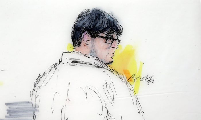 In this Dec. 21, 2015, courtroom sketch, Enrique Marquez Jr. appears in federal court in Riverside, Calif. Marquez, a friend of one of the shooters in the San Bernardino massacre that killed 14 people, was indicted Wednesday, Dec. 30, on five charges that include conspiring in a pair of previous planned attacks and making false statements when he bought the guns used in this month's shootings, authorities said. (Bill Robles via AP)