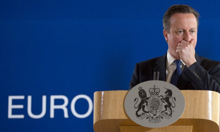 British Prime Minister David Cameron at a media conference after an EU summit in Brussels on June 26, 2015. (AP Photo/Virginia Mayo)
