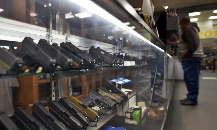 Handguns for sale at the RTSP shooting range in Randolph N.J., on Dec. 9, 2015. (JEWEL SAMAD/AFP/Getty Images)