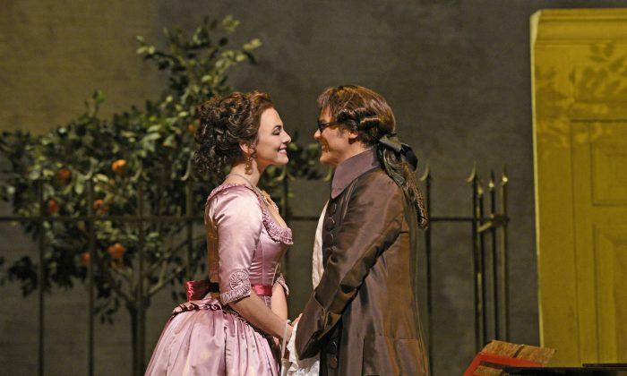"""Isabel Leonard as Rosina and David Portillo as Count Almaviva in Rossini's """"The Barber of Seville."""" (Karen Almond/Metropolitan Opera)"""
