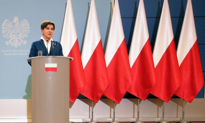 In this Tuesday, Nov. 24, 2015 file photo, Poland's Prime Minister Beata Szydlo  attends  the weekly  news conference in Warsaw, Poland. (AP Photo)