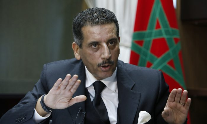 The director of the Central Bureau of Judicial Investigations, Abdelhak Khiame, gestures during an interview with The Associated Press at his headquarters in Sale near Rabat, Morocco, on Jan. 5, 2016. Khiame says it was his country that put French and Belgian police on the trail of the network behind the Paris attacks that killed 130, and likely spared more lives by pinpointing the location of the man considered the main organizer, holed up outside the French capital. (AP Photo/Abdeljalil Bounhar)
