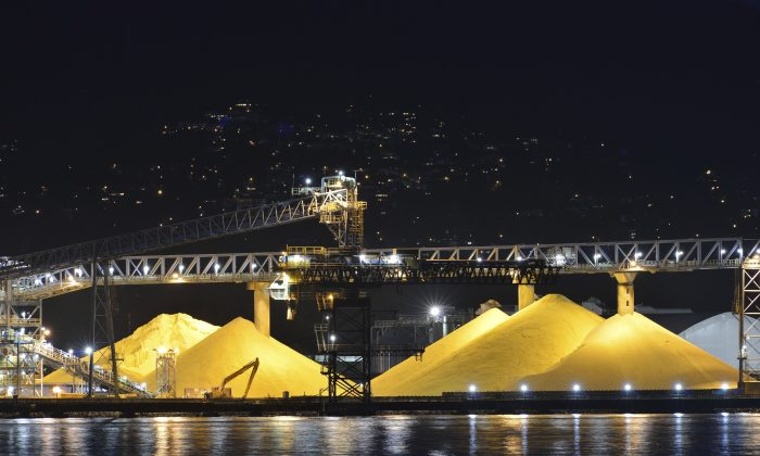 A file photo of piles of yellow sulphur on at a port in Vancouver, Canada. (Kongxinzhu/iStock)