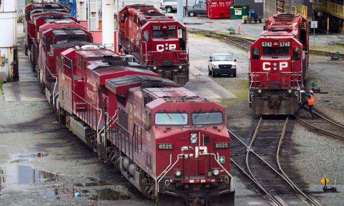 Locomotives sit at Canadian Pacific Rail's Port Coquitlam yard east of Vancouver on May 23, 2012. A court ruling limiting the company's liability from lawsuits triggered by the transportation of dangerous goods could bolster CP in legal action related to the deadly Lac-Megantic disaster. (The Canadian Press/Darryl Dyck)
