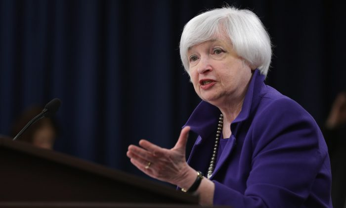 Federal Reserve Bank Chair Janet Yellen at a news conference where she announced that the Fed would raise its benchmark interest rate for the first time since 2008, at the bank's Wilson Conference Center in Washington, D.C., on Dec. 16, 2015. (Chip Somodevilla/Getty Images)