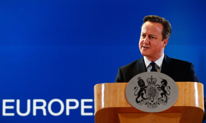 British Prime Minister David Cameron speaks to the media after The European Council Meeting in Brussels held at the Justus Lipsius Building in Brussels, Belgium, on Dec. 18, 2015. (Dean Mouhtaropoulos/Getty Images)