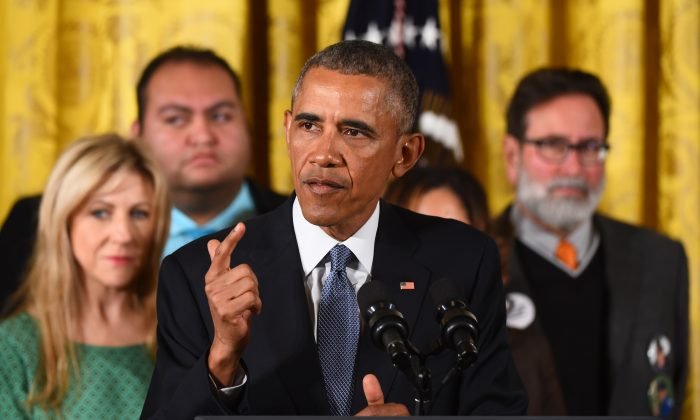 President Barack Obama delivers a statement on executive actions to reduce gun violence, at the White House, in Washington, D.C., on Jan. 5, 2016. (Jim Watson/AFP/Getty Images)