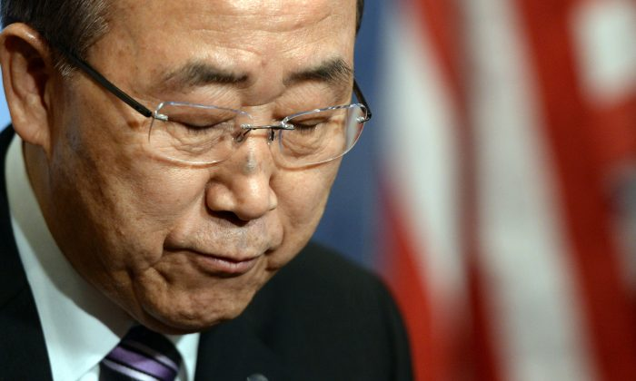 U.N. Secretary-General Ban Ki-moon speaks to the press at the United Nations in New York on Jan. 6, 2016, before a Security Council meeting about North Korea claiming it had successfully tested a hydrogen bomb. (Timothy A. Clary/AFP/Getty Images)