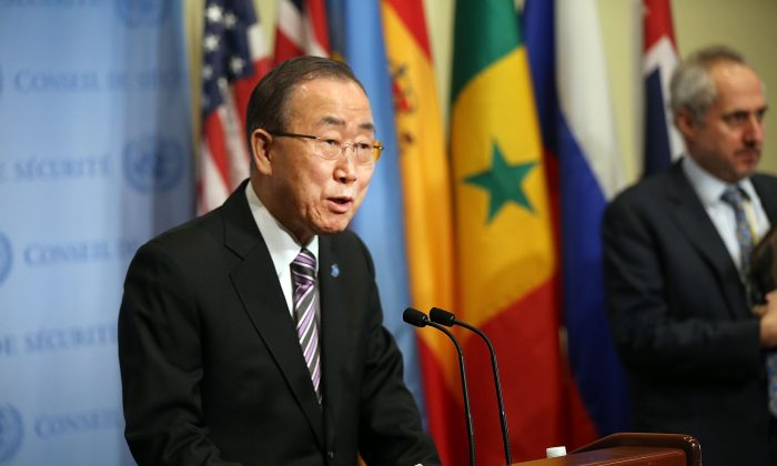 United Nations Secretary-General Ban Ki-moon makes comments to the media on the situation in North Korea before the Security Council holds a closed-door meeting to discuss the next steps at the United Nations in New York City on Jan. 6, 2016. (Spencer Platt/Getty Images)