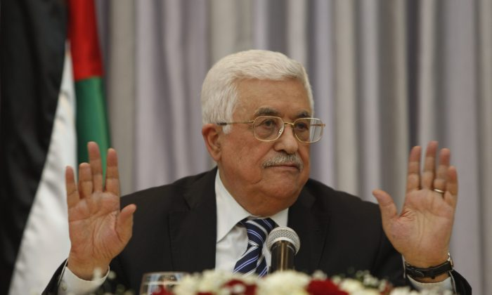 Palestinian President Mahmoud Abbas, also known as Abu Mazen, at a press conference in the West Bank city of Bethlehem on Jan. 6, 2016. (AP Photo/Majdi Mohammed)