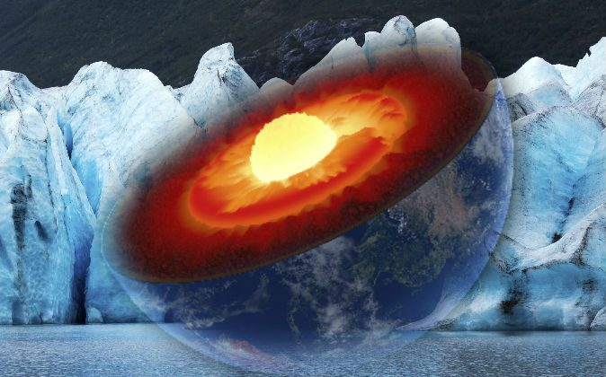 A conceptual illustration of the Earth's core. (Johannes Gerhardus Swanepoel/iStock) Background: Glacier (Leieng/iStock)