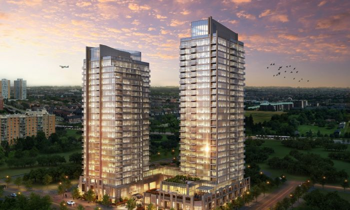 Rendering of Amber Condos, the fourth phase of Pinnacle International's master-planned Pinnacle Uptown community currently in preconstruction at Hurontario and Eglinton in Mississauga. (Courtesy of Pinnacle International)