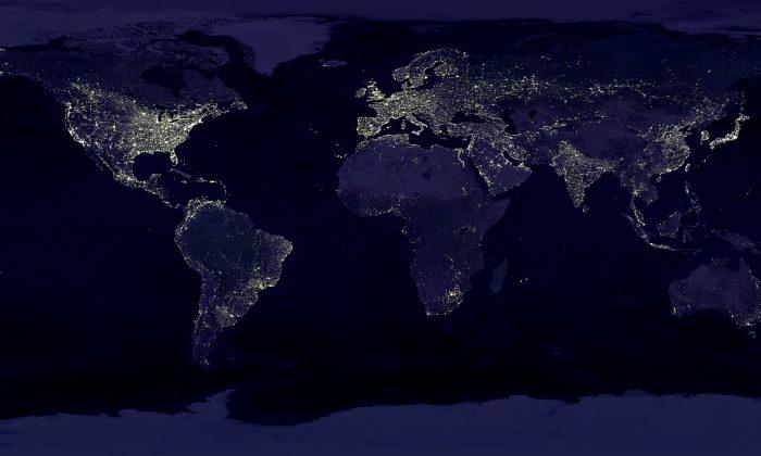 Photo of the earth at night. (Marc Imhoff/NASA)
