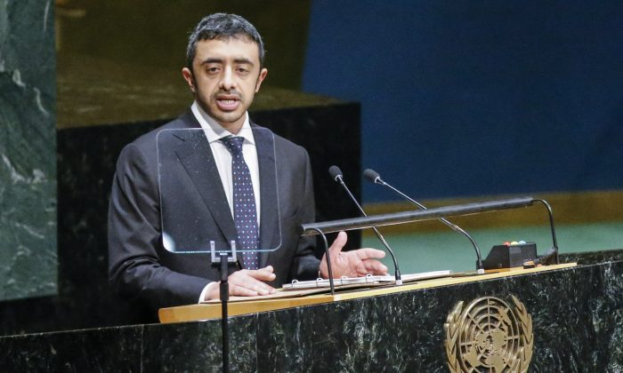 NEW YORK, NY - SEPTEMBER 27: Sheikh Abdullah Bin Zayed Al Nahyan, Minister for Foreign Affairs of the United Arab Emirates speaks at the 69th United Nations General Assembly on September 27, 2014 in New York City. The annual event brings political leaders from around the globe together to report on issues meet and look for solutions. (Photo by Kena Betancur/Getty Images)