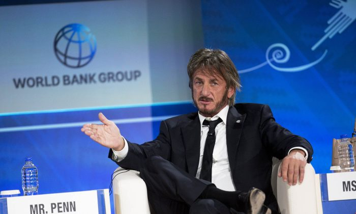 Sean Penn speaks during a forum with young entrepreneurs during the IMF and World Bank annual meeting in Lima, Peru, on Oct. 8, 2015. Late Saturday, Jan. 9, 2016, Rolling Stone magazine published an interview that Guzman apparently gave to Penn in his hideout in Mexico months before his recapture. In the article and interview, Penn describes the complicated measures he took to meet the legendary drug lord. (AP Photo/Rodrigo Abd)