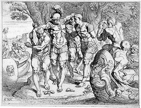 18th-century French engraving of Odysseus removing his men from the company of the Lotus-Eaters. (Public Domain)