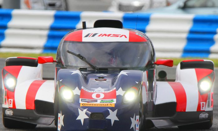 The DeltaWing set fastest time in Saturday morning's session at the 2016 IMSA WeatherTech Roar Before the 24 at Daytona International Speedway. (Chris Jasurek/Epoch Times)