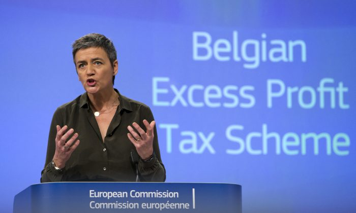 European Union Commissioner for Competition Margrethe Vestager speaks during a media conference on a state aid ruling at EU headquarters in Brussels on Monday, Jan. 11, 2016. (AP Photo/Virginia Mayo)