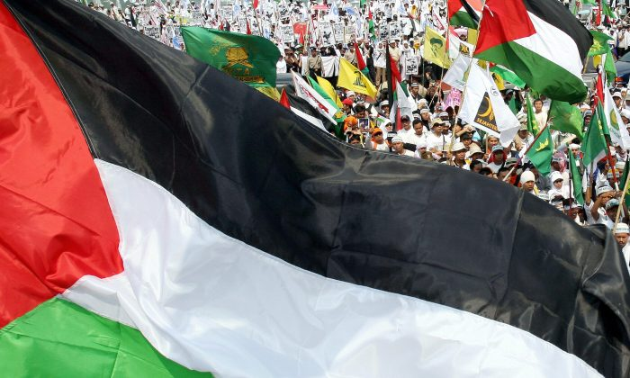 Protesters wave Palestinian flags as they display anti-US and Israeli placards during a demonstration in Jakarta, 06 August 2006.  (Jewel Samad/AFP/Getty Images)