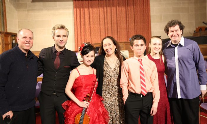 From the Jan.10th Shining Stars Concert: (L–R) Conductor Paul Hostetter, clarinetist Adrian Cunningham, violinist Yurie Minamaya, artistic director/founder Julie Jordan, violinist Christian Maloney, Sophia Steger, and Irish stepdancer and folk spoon player Niall O'Leary.  (Mark Minaly)