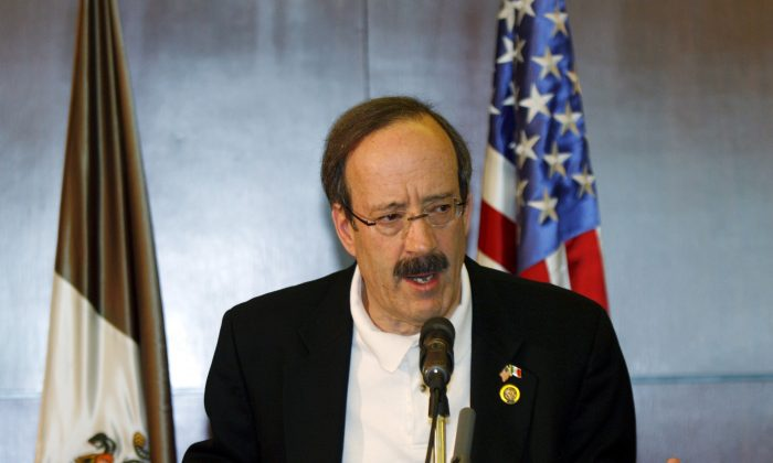Rep. Eliot Engel (D-N.Y.), during a news conference in Mexico City, where Engel and four other congressmen visited with Mexican President Felipe Calderon. Maryland tax officials have revoked the Bronx Congressman's claim to thousands of dollars in tax breaks for a nearly $1 million home in a Washington suburb he's called his primary residence on tax documents for at least ten years.  (Marco Ugarte/AP Photo)