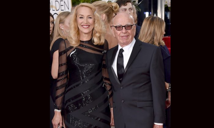 Jerry Hall (L) and Rupert Murdoch arrive at the 73rd annual Golden Globe Awards in Beverly Hills, Calif., on Jan. 10, 2016. Murdoch announced his engagement to Hall, the actress and former supermodel who had a long-time relationship with Mick Jagger on Jan. 11. (Jordan Strauss/Invision/AP)
