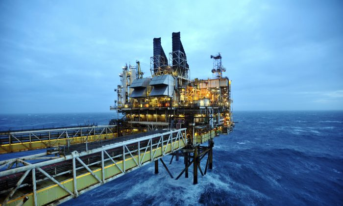 The BP ETAP (Eastern Trough Area Project) oil platform in the North Sea, 100 miles east of Aberdeen, Scotland, on Feb. 24, 2014. (Andy Buchanan/AFP/Getty Images)