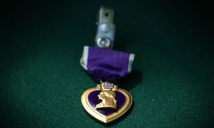A Purple Heart medal is seen during a Purple Heart ceremony June 9, 2015 at George Washington's Mount Vernon in Mount Vernon, Virginia. (Alex Wong/Getty Images)