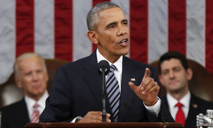 President Barack Obama delivers his State of the Union address before a joint session of Congress on Capitol Hill in Washington, D.C., on Jan. 12, 2016. In his final State of the Union, President Obama reflected on the past seven years in office and spoke on topics including climate change, gun control, immigration and income inequality. (Evan Vucci/Getty Images)
