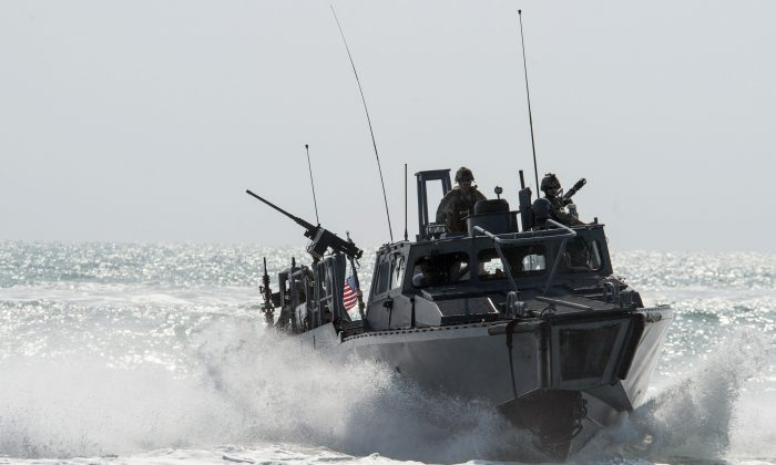 The Riverine Command Boat (RCB) 805 in the Persian Gulf on Nov. 2, 2015. Iran was holding 10 U.S. Navy sailors and their two boats, similar to the one in this picture, on Jan. 12, 2016, after the boats had mechanical problems and drifted into Iranian waters. American officials have received assurances from Tehran that they will be returned safely and promptly. (Torrey W. Lee/U.S. Navy via AP)