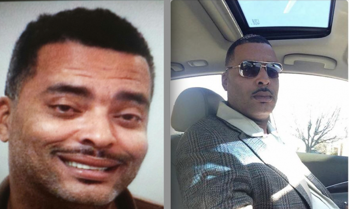 """The mugshot of fugitive Donald A """"Chip"""" Pugh and the selfie he sent to the police (Lima Police Department)."""