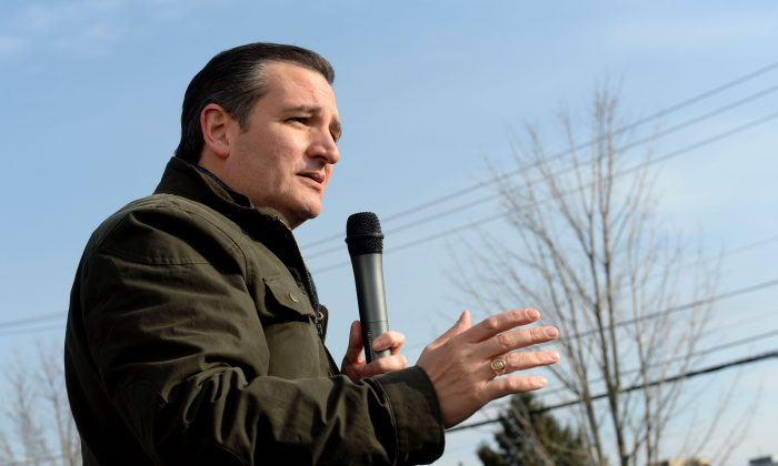 Republican Presidential Candidate Ted Cruz speaks at a second amendment rally at the Granite State Indoor Range and Gun Shop January 12, 2016 in Hudson, New Hampshire. (Darren McCollester/Getty Images)