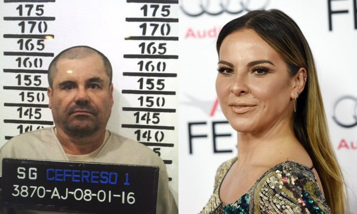 "On the left, in this Jan. 8, 2016 image released by Mexico's federal government, Mexico's most wanted drug lord, Joaquin ""El Chapo"" Guzman, stands for his prison mug shot with the inmate number 3870 at the Altiplano maximum security federal prison in Almoloya, Mexico. On the right, actress Kate Del Castillo during the 2015 AFI Fest at the TCL Chinese Theatre on Monday, Nov. 9, 2015, in Los Angeles. (Chris Pizzello/Invision/AP)"