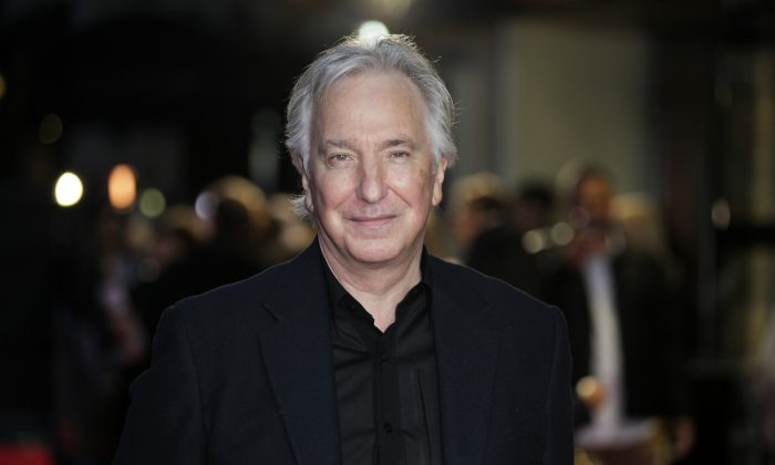 """British actor Alan Rickman, whose career ranged from Britain's Royal Shakespeare Company to the """"Harry Potter"""" films, has died at 69 on Jan. 14., after a battle with cancer.(Grant Pollard/Invision/AP)"""