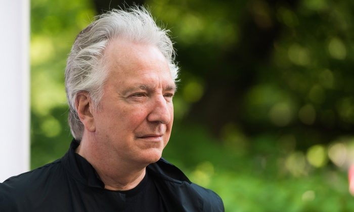 """In this Tuesday, June 9, 2015 file photo, actor Alan Rickman attends The Public Theater's Annual Gala at the Delacorte Theater in Central Park, in New York.  British actor Alan Rickman, whose career ranged from Britain's Royal Shakespeare Company to the """"Harry Potter"""" films, has died. He was 69.  Rickman's family said Thursday, Jan. 14, 2016 that the actor had died after a battle with cancer.  (Photo by Charles Sykes/Invision/AP, File)"""
