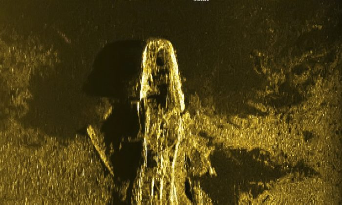 In this Jan. 2, 2016, sonar image released by Australian Transport Safety Bureau on Wednesday Jan. 13, 2016, a shipwreck is seen on the ocean floor off the coast of Australia. The undersea search for the Malaysian airliner that vanished almost two years ago has found a second 19th century shipwreck deep in the Indian Ocean off the west Australian coast, officials said Wednesday, Jan. 13, 2016. (Australian Transport Safety Bureau via AP)