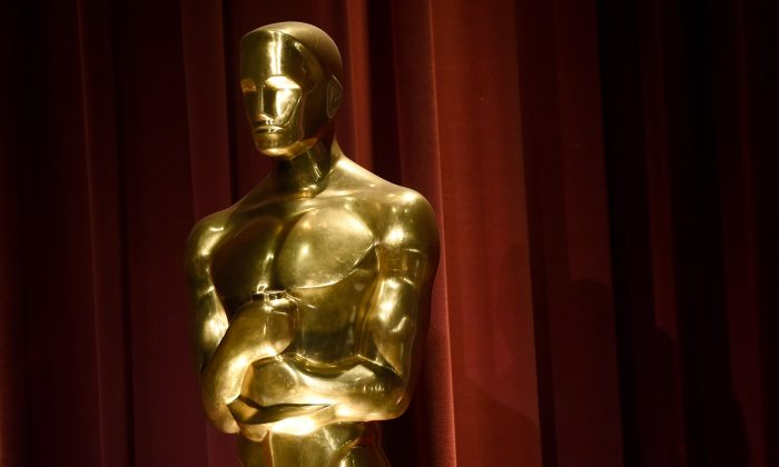 An Oscar statue is seen on stage at the 88th Academy Awards nomination ceremony on Thursday, Jan. 14, 2016, in Beverly Hills, Calif. The 88th annual Academy Awards will take place on Sunday, Feb. 28, 2016, at the Dolby Theatre in Los Angeles.(Photo by Chris Pizzello]/Invision/AP)