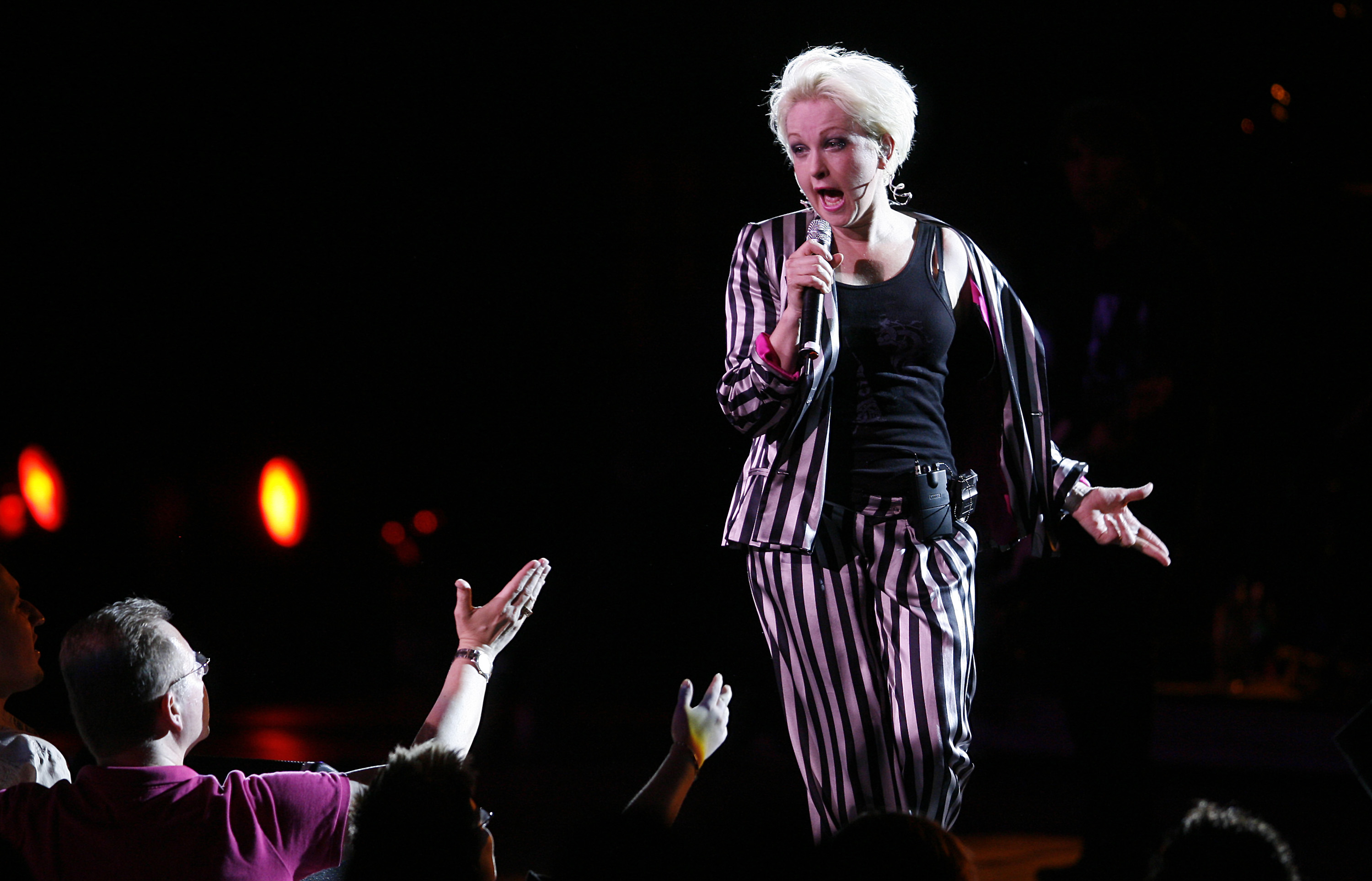 Cyndi Lauper performs during a stop on the True Colors Tour at Radio City Music Hall Tuesday, June 3, 2008 in New York. (AP Photo/Jason DeCrow)