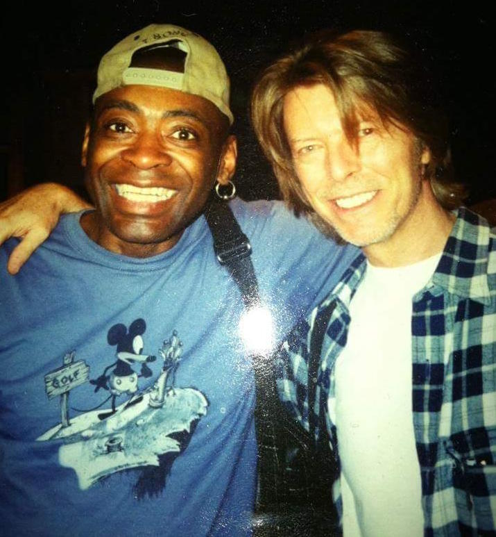Dennis Davis and David Bowie, in the early 2000s in New York City. (Courtesy of Dennis Davis)