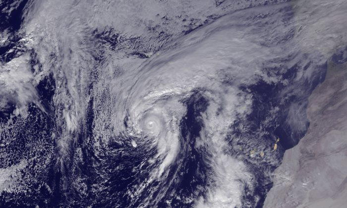 Hurricane Alex is seen in the Atlantic after being upgraded from a storm on Jan. 14, 2016. Alex is the first named storm to form in the Atlantic in January since 1978, the first January-born hurricane since 1938, and just the fourth known storm to arrive in the month since records began in 1851. This image was taken by GOES East at 1445Z. (NOAA via Getty Images)